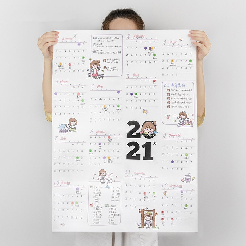 Calendario de pared con bonitos dibujos animados, calendario de 2021 días de...