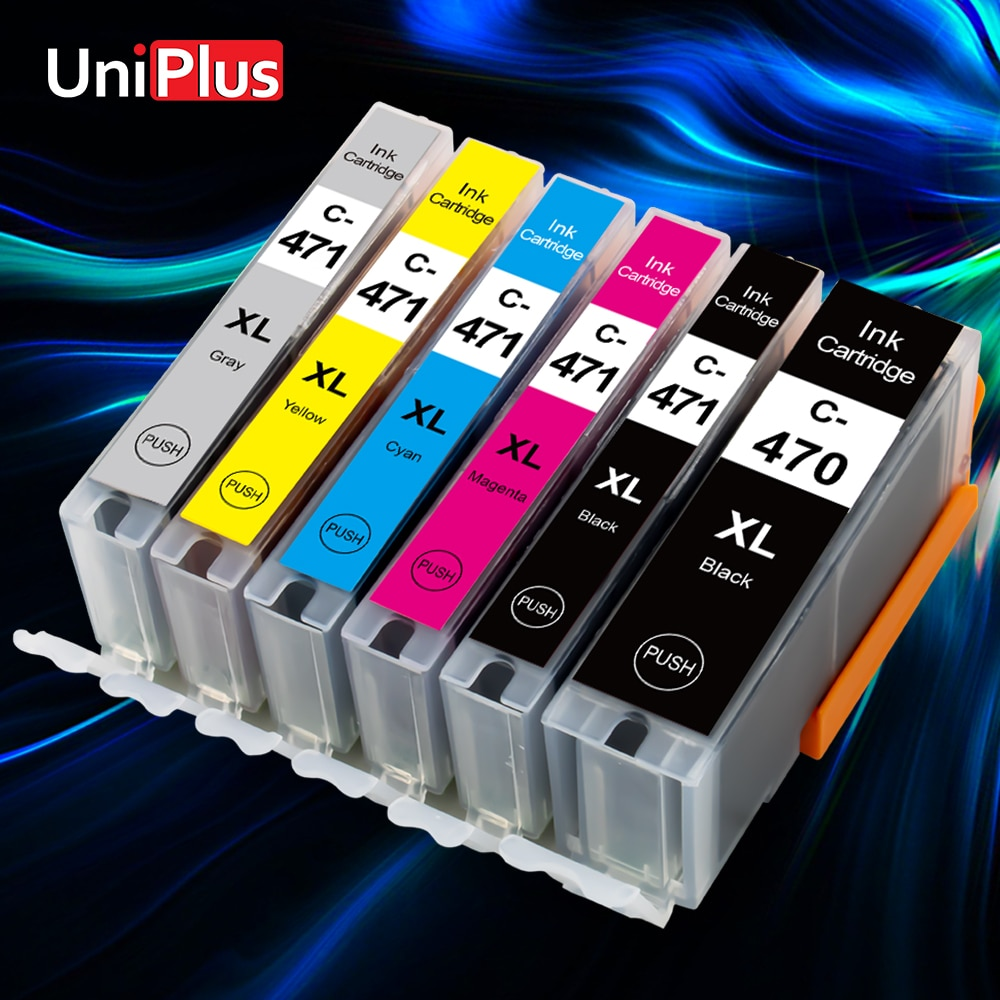 Cartucho de tinta UniPlus 470XL 471XL, reemplazo de Canon PGI470 CLI471 para impresora Canon PIXMA MG5740 MG6840 TS5040 TS6040 TS8040 TS9040