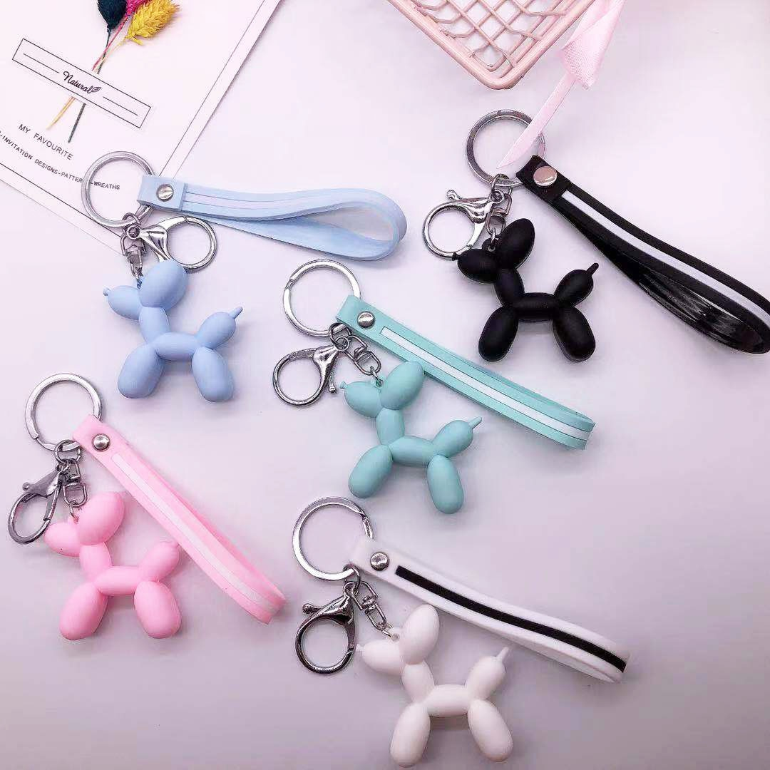 Korean Rubber PVC Key Dog Key Chain For Women Cute Balloon Shaped   Macaroon 5 Colors Cartoon Animal Key Rings 1PC