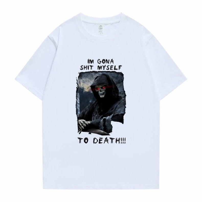 Футболка Im Gona с надписью «me To Death», мужские и женские футболки в стиле хип-хоп, трендовые стильные футболки, летняя футболка большого размера ...