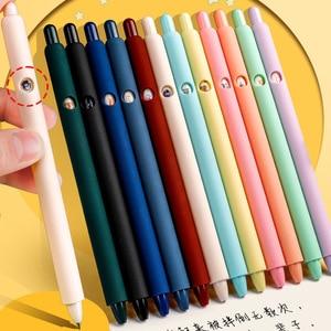 6pcs Pens Retro Color Cartoons 0.5mm Nib Press Gel Pen for Writing Stationery Office School Supplies
