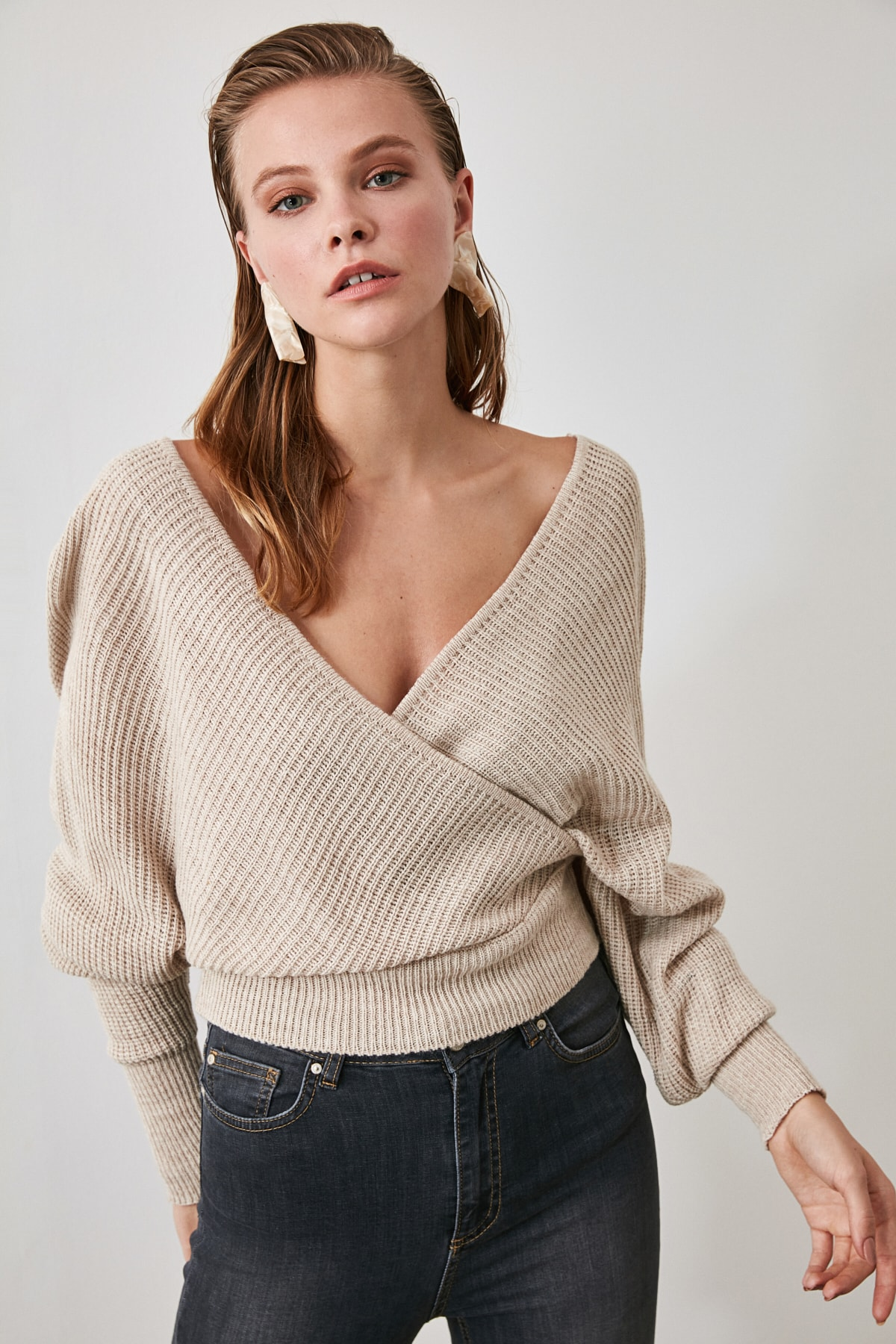 Trendyol Double Breasted Mesh Detailed Knitwear Sweater TWOAW21KZ1277