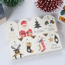 Étiquettes à suspendre en papier Kraft père noël   50 pièces, étiquettes pour emballage de noël, fournitures demballage cadeau, cartes de fête, ornement de décoration de noël