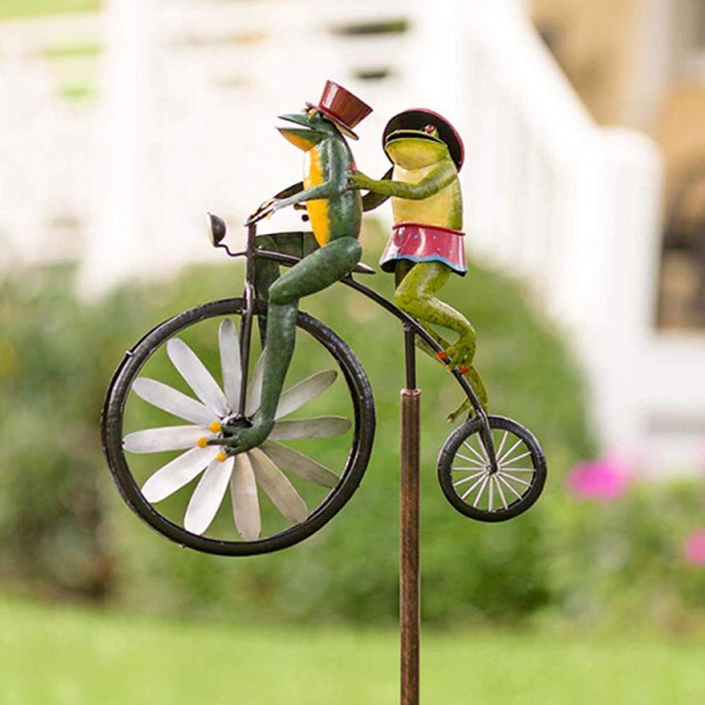 خمر دراجة الرياح سبينر المعادن حصة القط ركوب الدراجة رائعة الرياح الدوار ديكور داخلي في الهواء الطلق Yard والحديقة