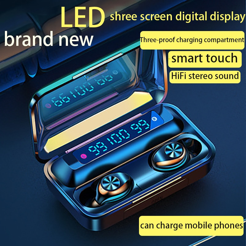 TWS Bluetooth Headset Wireless 5.0 Charging Box 2000 MAh Triple Display CD Touch 9D Stereo Waterproof Noise Reduction Sports Wir