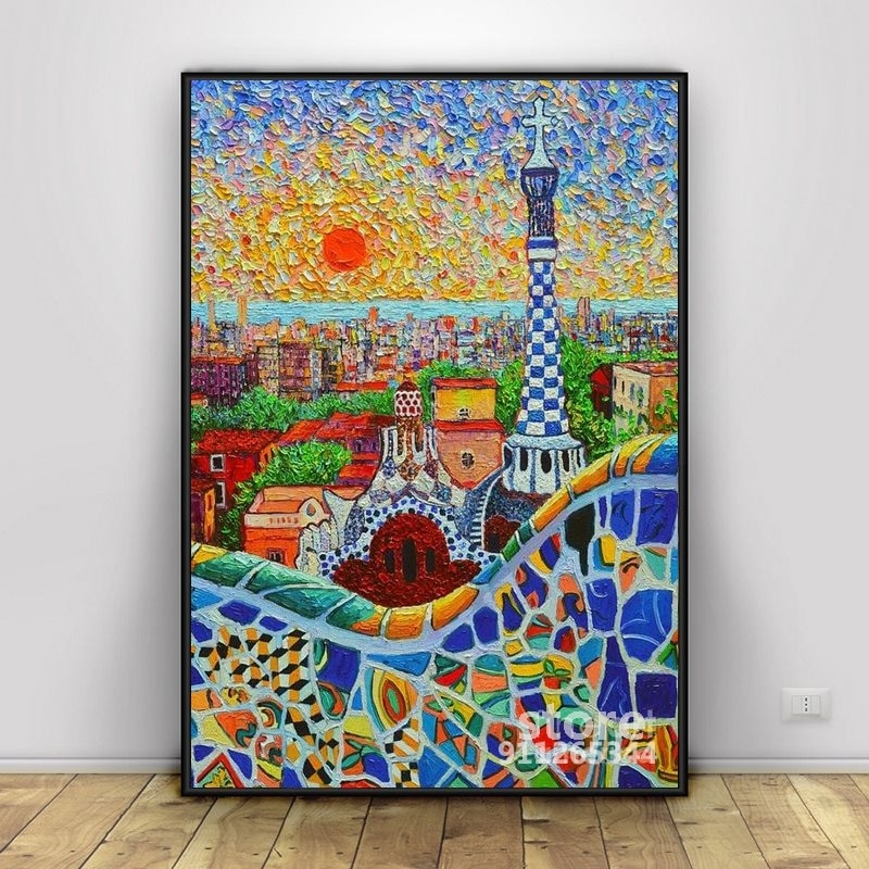 Barcelona Sunrise-Parque Guell-Gaudi Torre cuadros artísticos de pared cartel, arte de la...