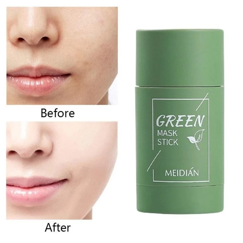 Green Tea Purifying Clay Stick Mask Oil Control Anti-Acne Face Cream Solid Fine Cleaning Mask Skin C