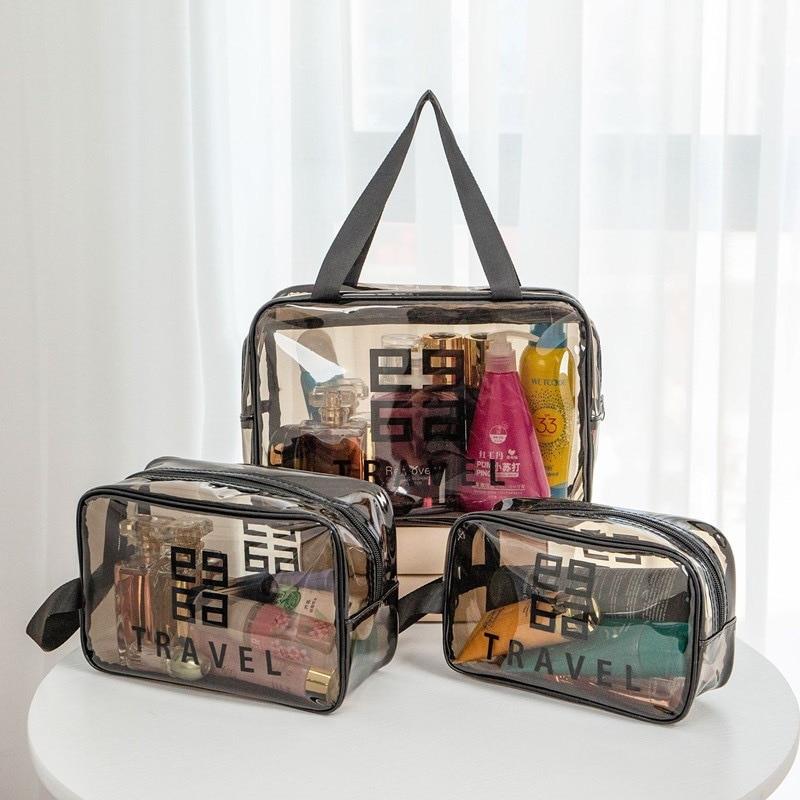 Дорожная сумка для хранения, прозрачный органайзер для макияжа, женская сумка, косметички, чехлы с ручками, водонепроницаемая вместительна...