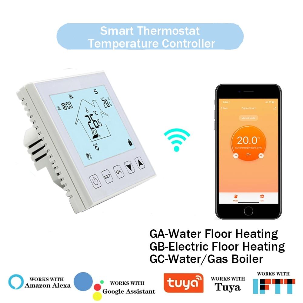 Tuya-ترموستات ذكي مع WiFi ، متحكم في درجة الحرارة لتسخين المياه والأرضيات الكهربائية ، غلاية تعمل بالغاز ، يعمل مع Alexa و Google Home