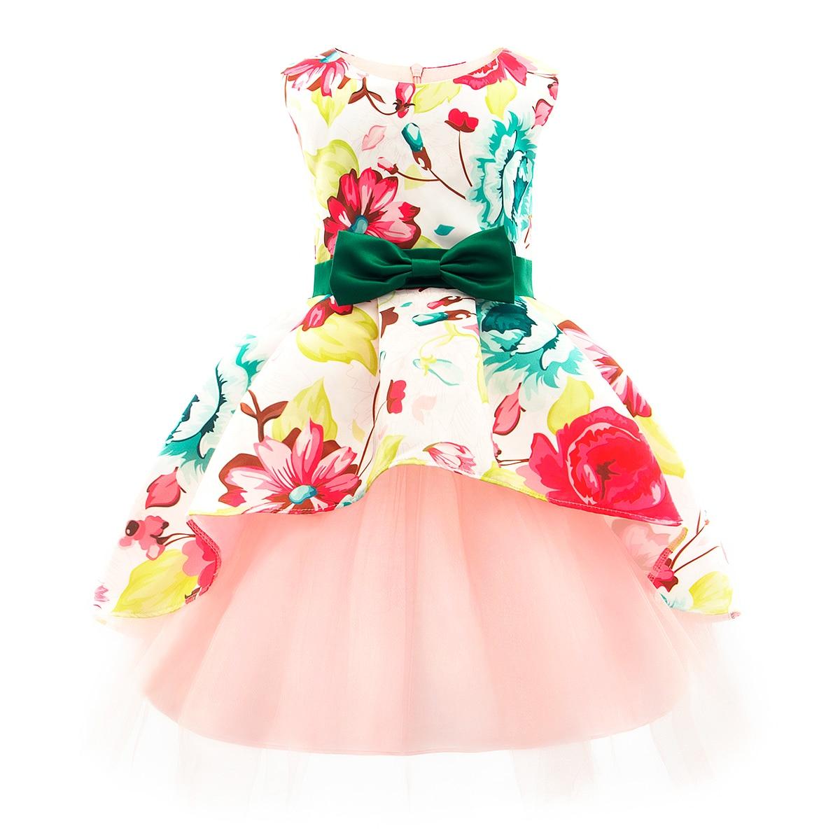 2020 Spring Summer Princess Girl Dress Flower Print Dresses Wedding Birthday Party Vestidos Tutu Dress Baby Child Flower Apparel