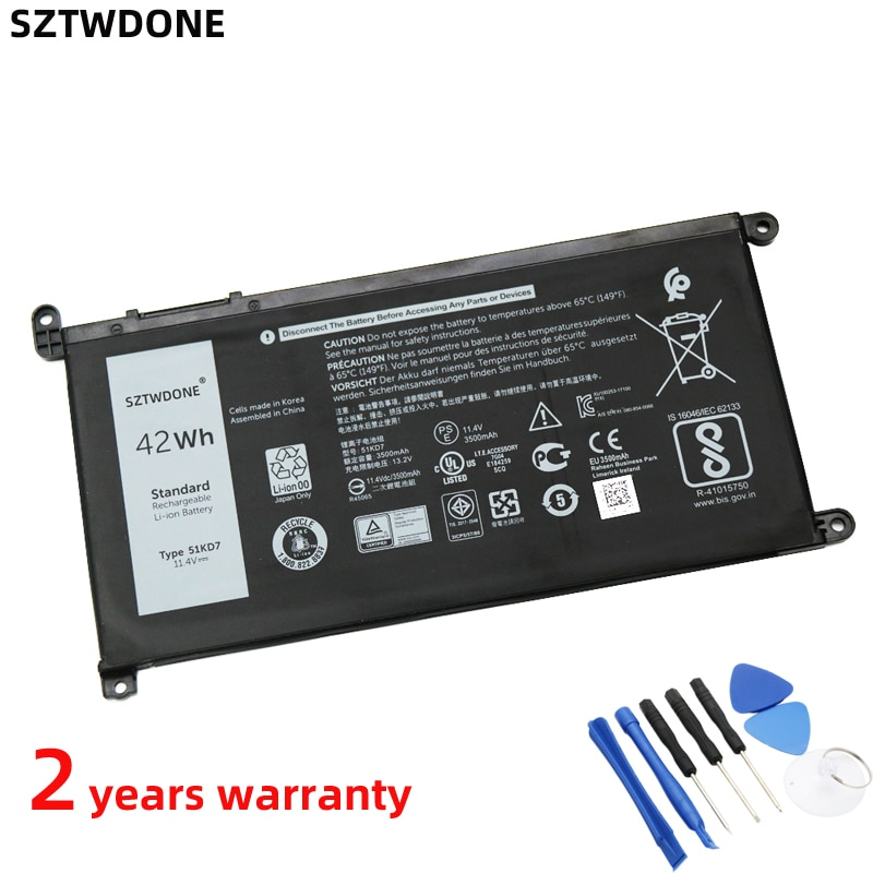 SZTWDone 51KD7 Laptop Battery for Dell Chromebook 11 3180 3189 P26T FY8XM Y07HK 11.4V 42WH