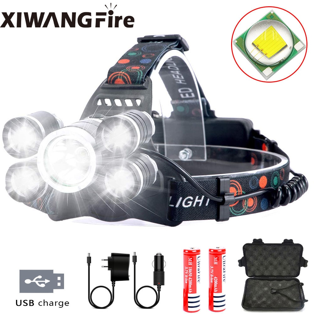 Headlamp Rechargeable LED Headlight 4 Modes, LED Waterproof Work Headlight, Brightest Flashlight ,for Camping,Hiking, Fishing