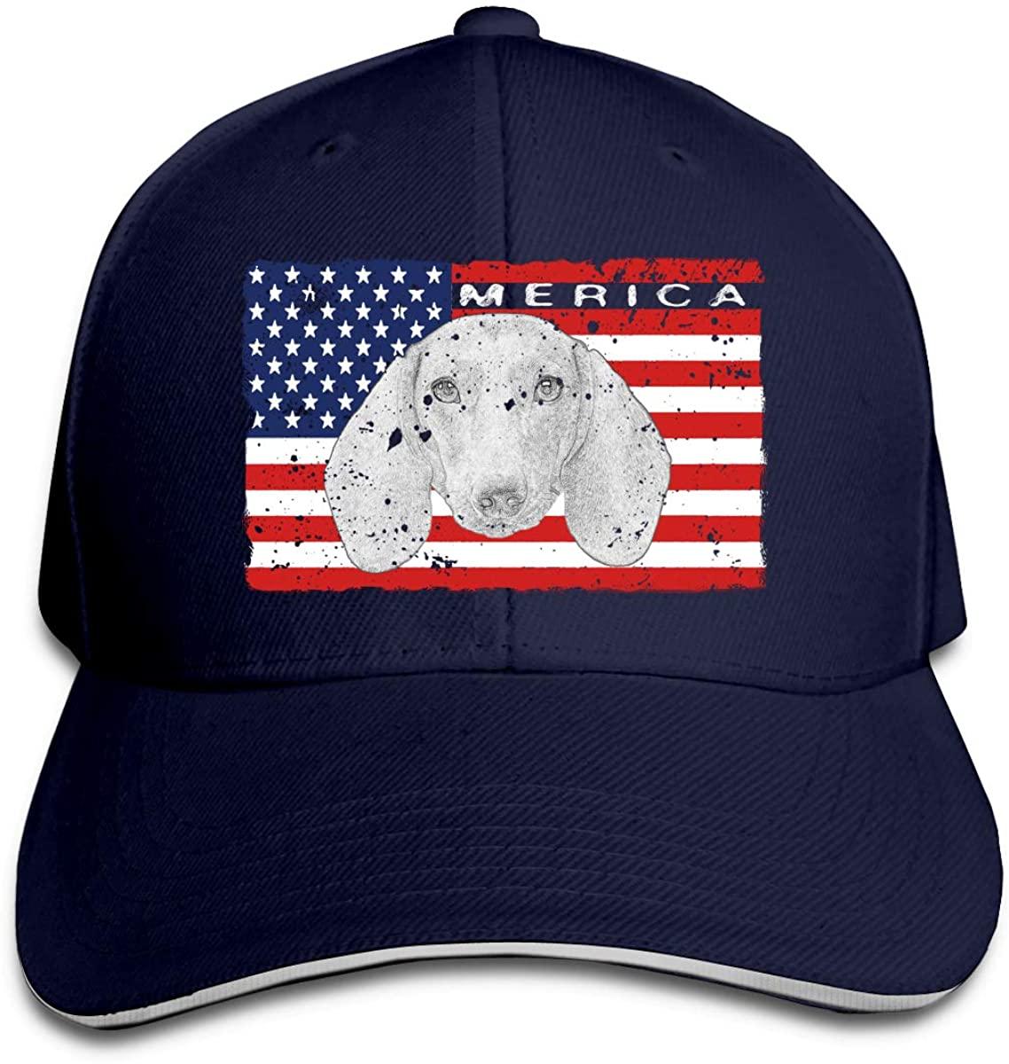 Patriotic Dachshund Dog USA Flag Unisex Hats Trucker Hats Dad Baseball Hats Driver Cap