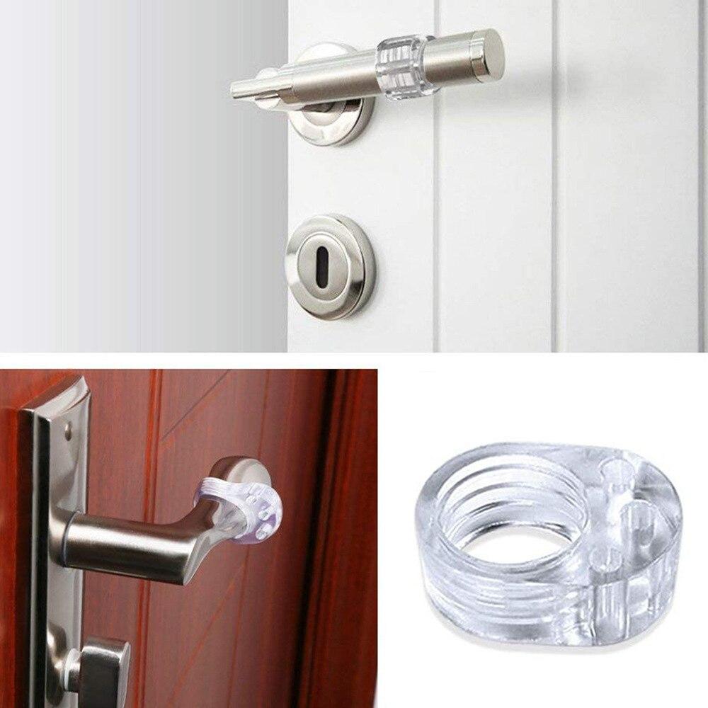 4pcs Door Stopper Transparent Silica Door Handle Buffer Wall Protection Doorknob Bumper Walls Door Handle Anti-collision Ring