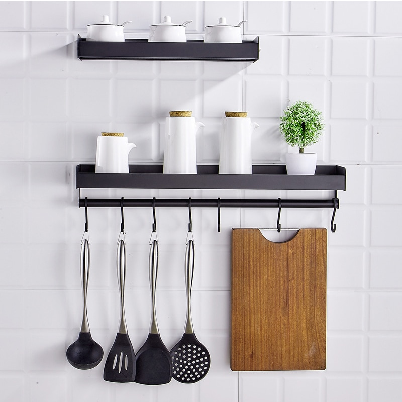 Punch-free Wall-mounted Kitchen Shelves Aluminum Storage Rack Multi function ShelfRack Organizer