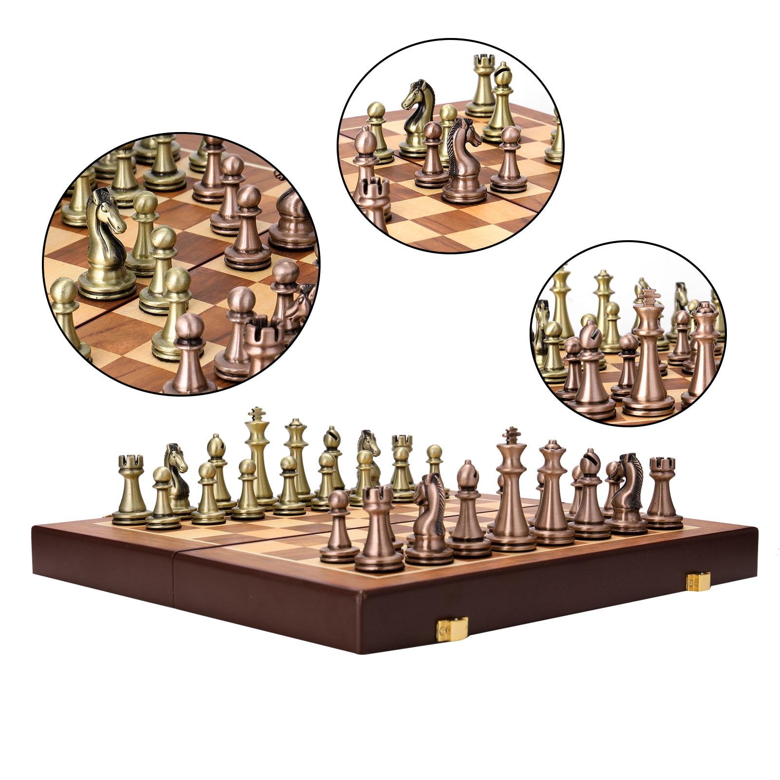 Металлические шахматы, металлические шахматы, деревянная складная шахматная доска из сплава, настольная игра, шахматная доска, подарок