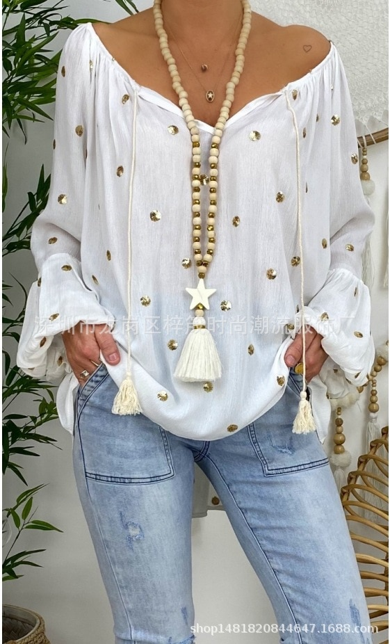 Large size loose women blouse 2020 summer blouse bohemian top casual V-neck horn show strap sequined ladies shirt