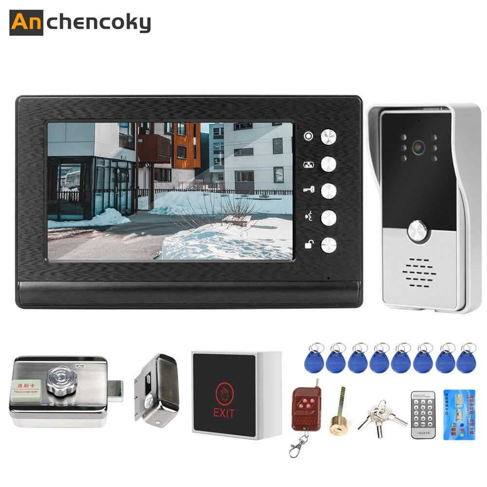 Anchcryptoky-هاتف فيديو سلكي ، نظام اتصال داخلي سلكي مع قفل كهربائي لمنزل الشقة ، التحكم في الوصول ، نظام باب الفيديو