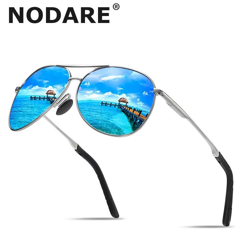 Nodare marca nova homens polarizados óculos de sol clássico piloto condução óculos de sol moda feminina alta qualidade masculino metal oculos