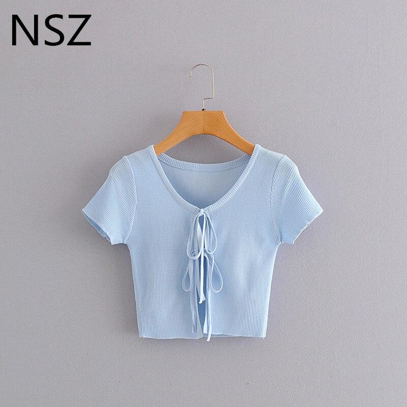 NSZ, camiseta tejida para mujer, top corto de verano, manga corta, ropa de punto elástica sexy, camiseta lisa, capa, suéter, camiseta, estilo coreano 2020