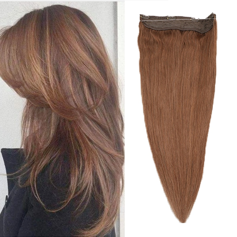 Toysww straight Halo Human Hair Extension Invisible Wire with 4 Clip One Piece Halo Hair Extensions for women