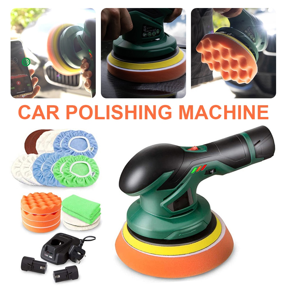 Car Polishing Machine 12V Electric Cordless Polisher Rechargeable Orbit Polisher Variable Speed for Car Waxing Buffing Tools