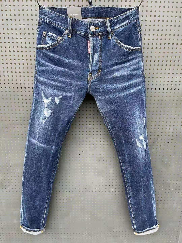 DSQ2 الرجال سليم جينز سترتش أقدام صغيرة السراويل العصرية الرجال فاسق السراويل الضيقة 066