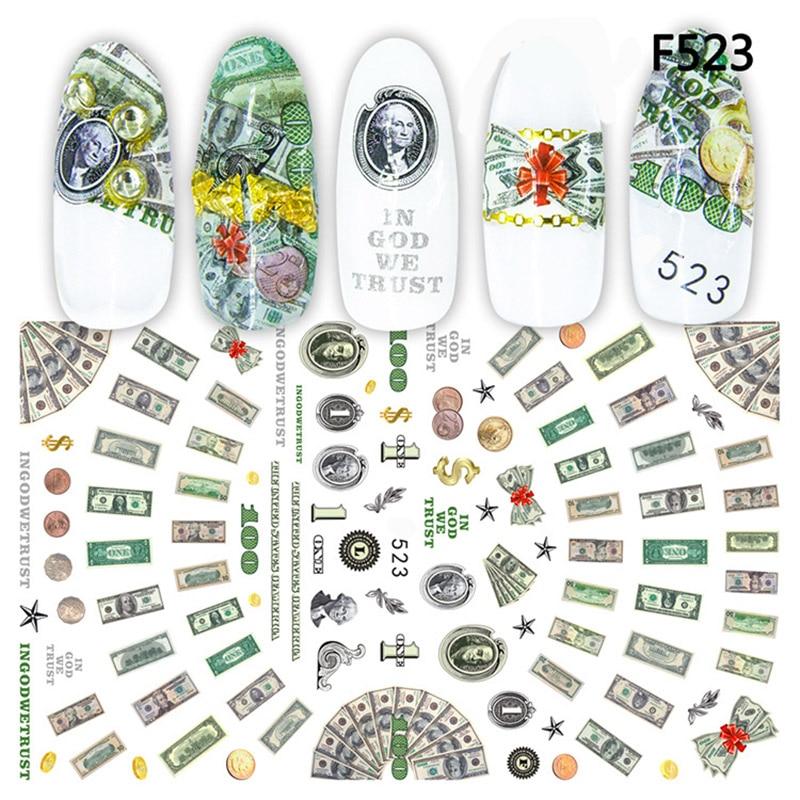 Nuevo llegado pegatinas 3D uñas calcomanías dinero dólar rico estilo adhesivo calcomanías para arte de uñas decoración Z0265