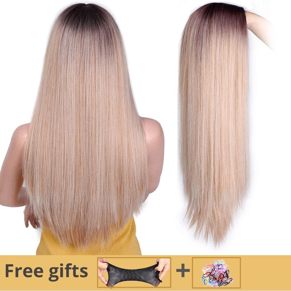 Я парик длинный прямой синтетический парик смешанные коричневые и светлые длинные парики для белых/черных женщин средняя часть природы пар...
