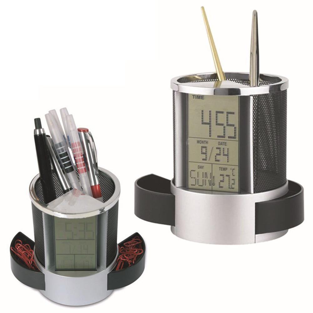 Office LCD Countdown Function Alarm Clock Time Temperature Display Pen Pencil Holder Durable Desk Organizer new abs multi functions digital desk pen pencil holder display lcd alarm clock thermometer