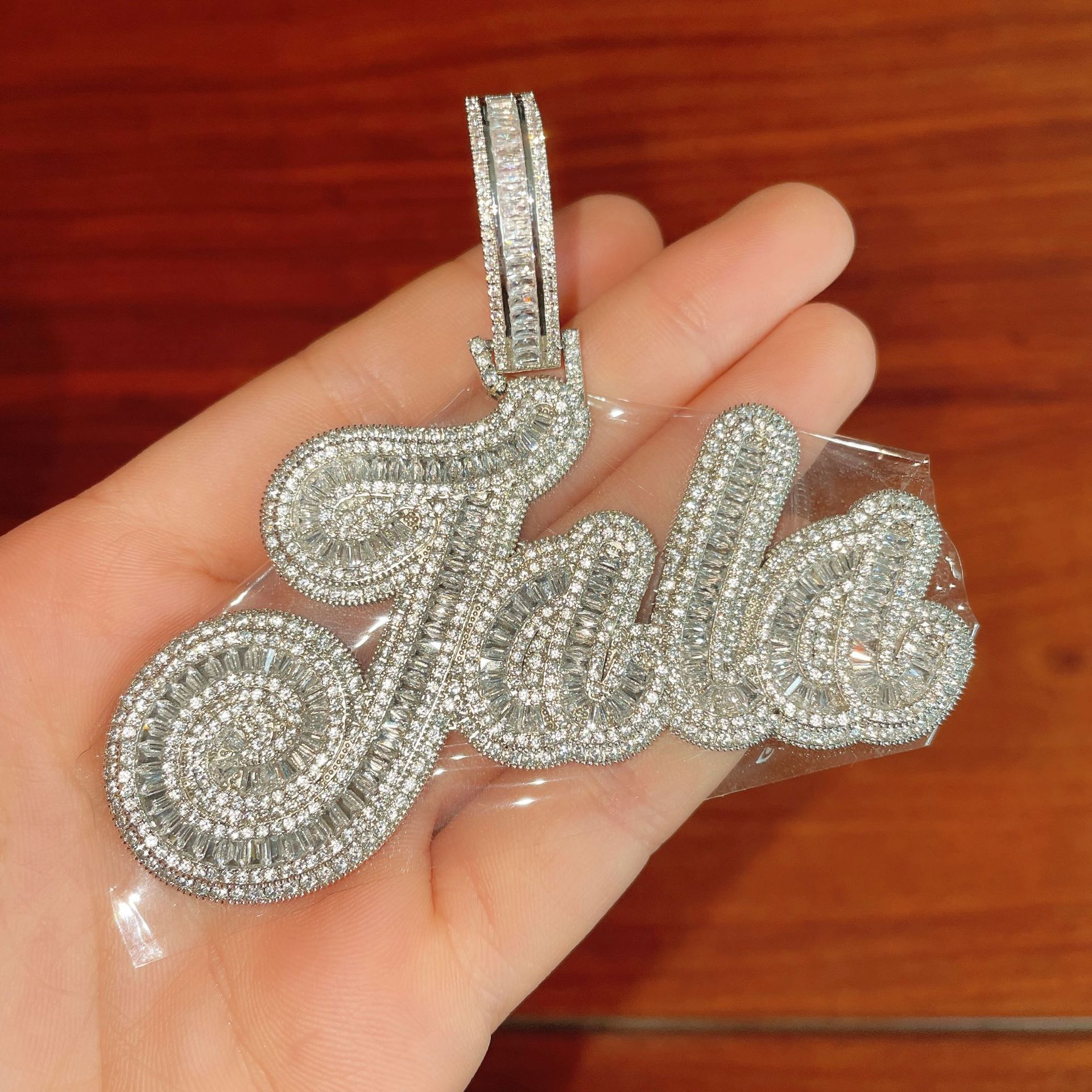 THE BLING KING Custom Baguette Letter Pendant Iced Out Bling Square CZ With 15mm Miami Cuban Chain Necklace Charm Hiphop Jewelry