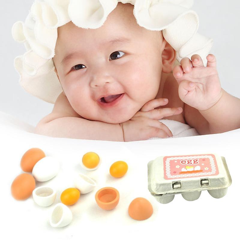 Juego de 6 unidades para bebés y niños, conjunto de yema de huevo de madera, cocina, juguete para niños pequeños, regalos educativos para preescolar