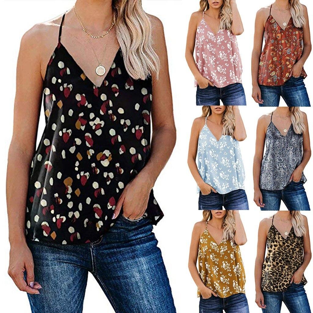 2020 topo das mulheres verão sem mangas boho v pescoço floral/leopardo estampado cami tank tops 7 cores casual tank camiseta tirantes mujer @ 35