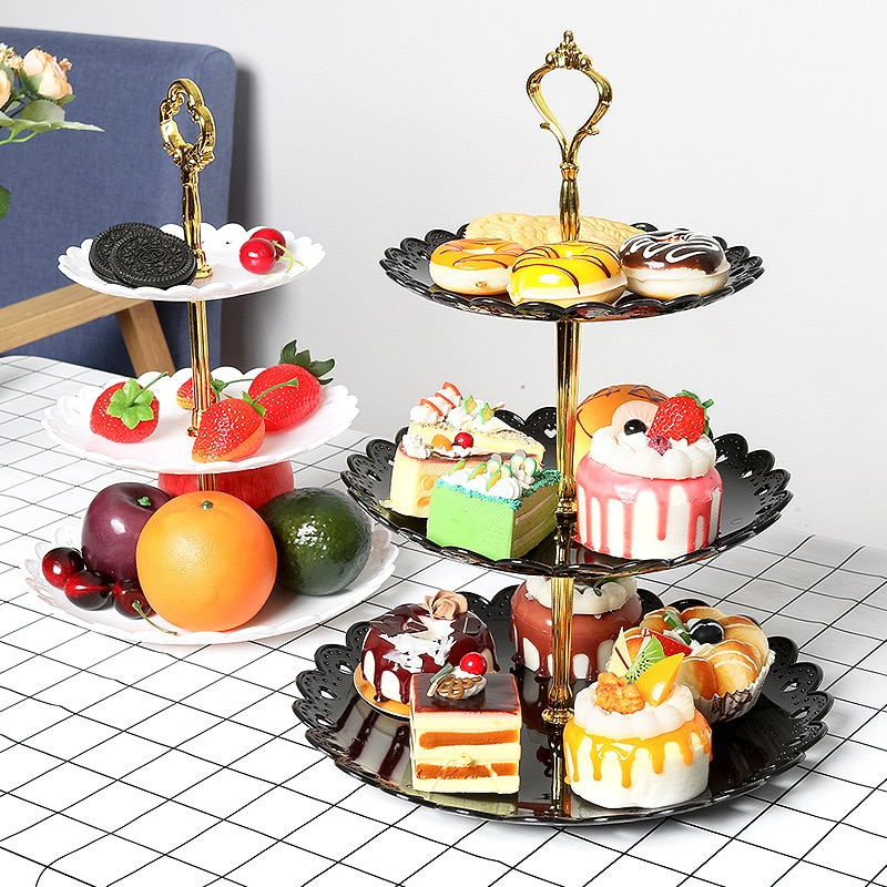 European Tray Holiday Party Three-layer Fruit Plate Dessert Candy Dish Cake Stand Self-help Display Home Table Decoration Trays