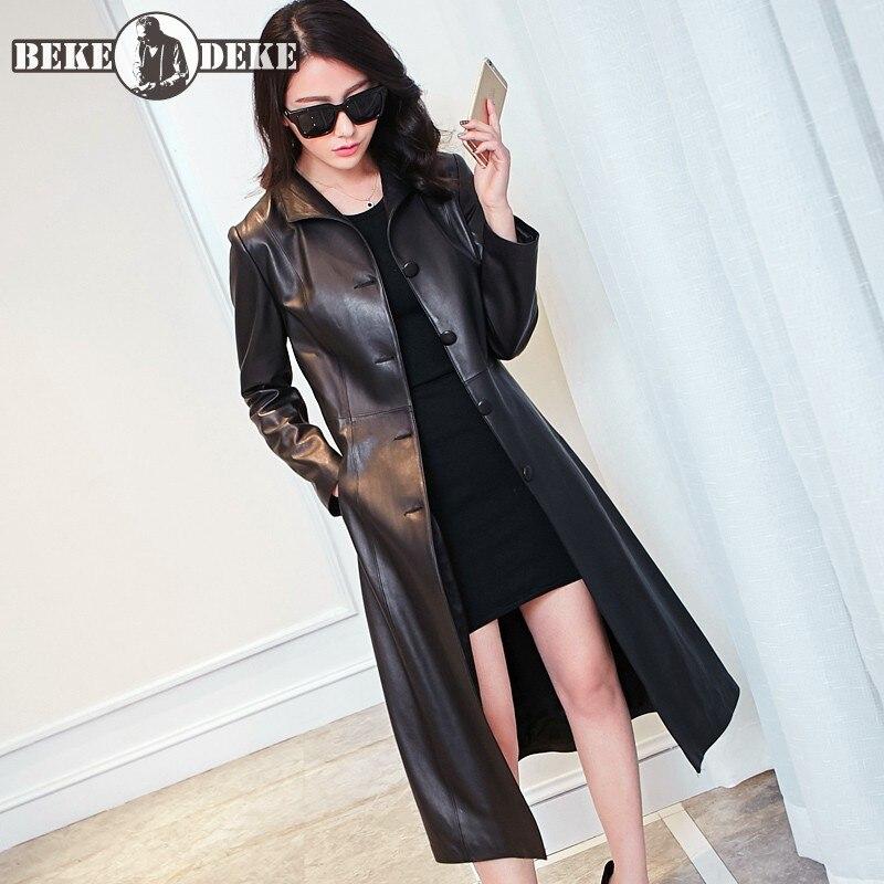 Abrigo de piel de oveja de cuero Real para mujer primavera 2020 Delgado solo botonadura cortavientos marca OL negro abrigo largo de talla grande 8XL