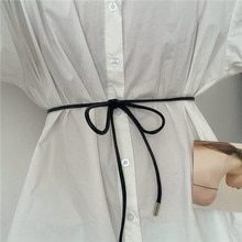 Korean Style Candy Color Small Black Leather Dress Sweater Chain Versatile Rope Belt Knot WOMEN'S Fu