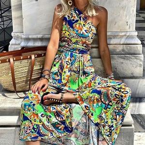 Yg Brand Women's 2021 Summer New Bohemian Long Skirt European And American Print Slim Temperament Diagonal Shoulder Strap Dress