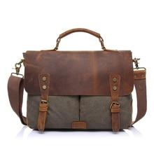 Vintage Men Shoulder Bags Handbags 15.6 Inch Leather Messenger Bag Women Canvas Satchel Laptops Bag Multi-function High-capacity
