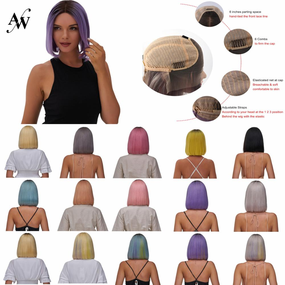 Aw 10 hd hd hd transparente remy peruca de cabelo humano pré arrancado linha fina curto bob rendas frente metade do laço peruca para mulher 150% densidade