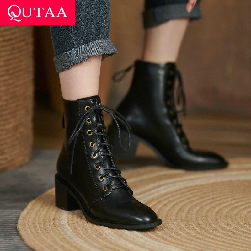 QUTAA 2022 النساء حذاء من الجلد جلد طبيعي سستة السيدات مضخات جولة تو ساحة ميد كعب موضة النساء أحذية حجم 34-42