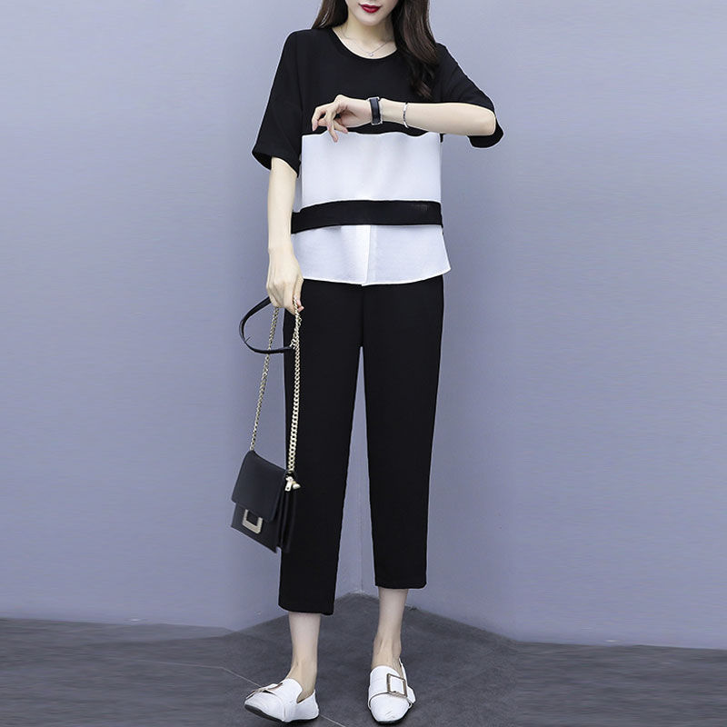 Middle-aged Women Summer Causal Loose Suit Tops Half Sleeve Wide Leg Pants Sets Women's Chiffon Shirt Mother Tracksuit W238