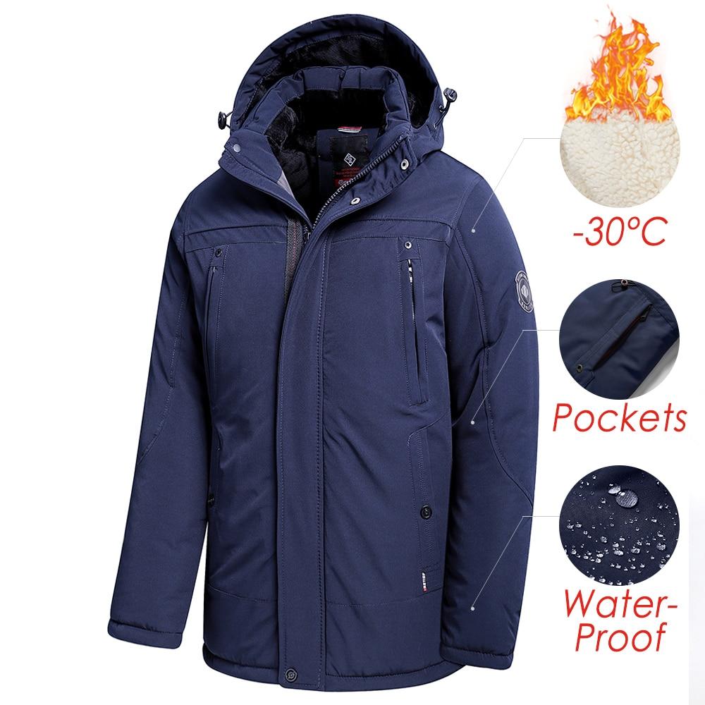Men 2021 Winter New Long Casual Thick Fleece Hooded Waterproof Parkas Jacket Coat Men Outwear Fashion Pockets Parka Jacket 46-58
