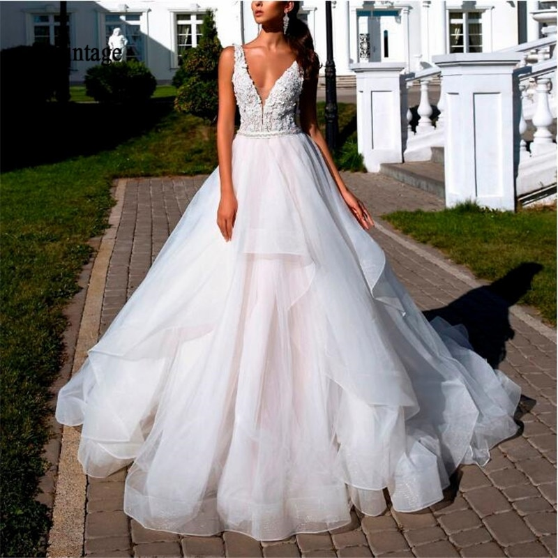 Sevintage Deep V-neck Tiered Boho Wedding Dress Lace Appliques Wedding Gown Organza Backless Bride Dresses Vestido De Noiva ha084 eightale wedding dresses boho v neck appliques lace buttons ball gown wedding gowns bride dress vestidos de noiva