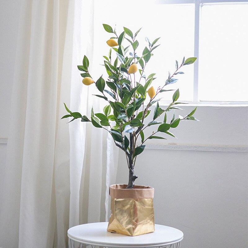 simulation of pot plants from spot manufacturers, lemon pot landscape, fake plants, home decoration, green plants
