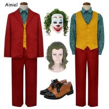 Ainiel Joker Costume Red Suits Joaquin Phoenix Set Clown Cosplay Wig Arthur Fleck Shoes Suit for Kids Halloween Mask Adult Men