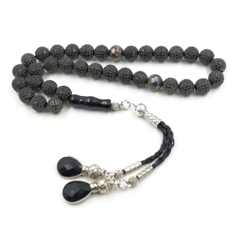 جديد أسود الزركون الخرز Tasbih 33 الخرز سوار مسلم هدية Misbaha 5A جودة الاكسسوارات الحجر الإسلامي الوردية اليدوية مجوهرات