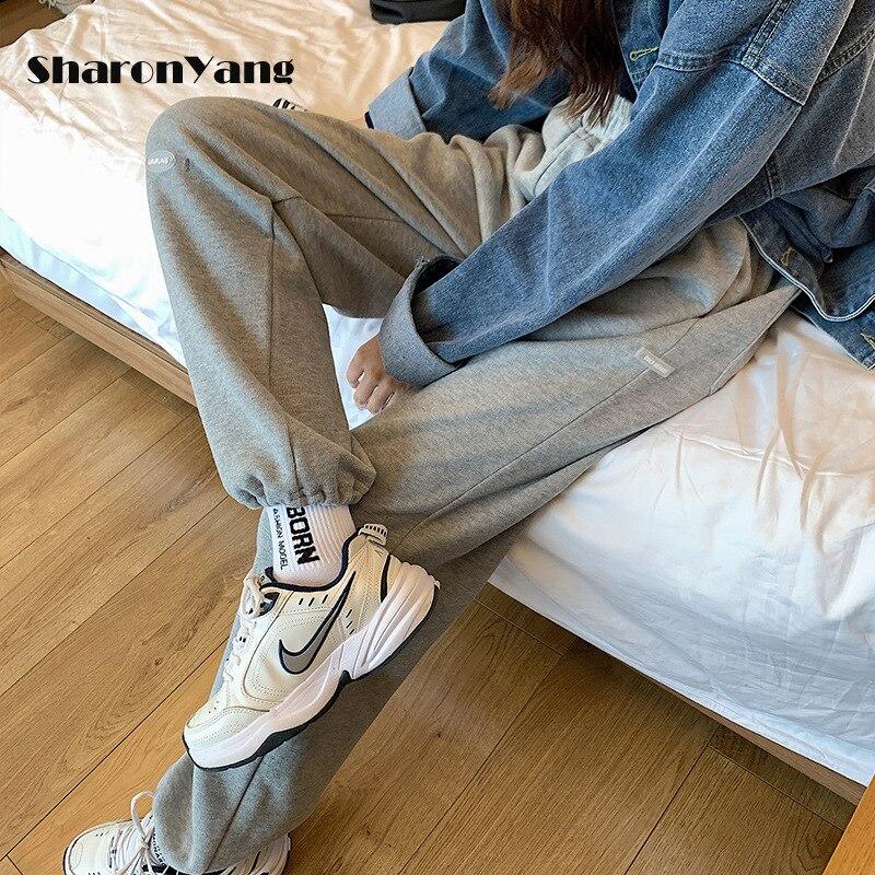 Брюки женские, новинка 2021, брюки, женские леггинсы на шнуровке, женские повседневные Прямые серые спортивные брюки, женские брюки