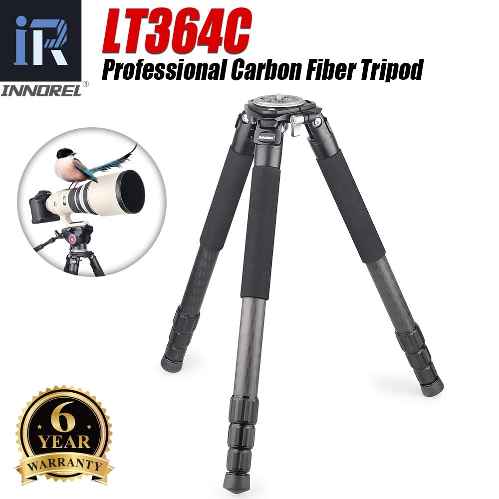 Innorel lt364c profissional tripé de fibra de carbono resistente lente telefoto carga máxima 35kg nikon canon dslr câmera digital vídeo