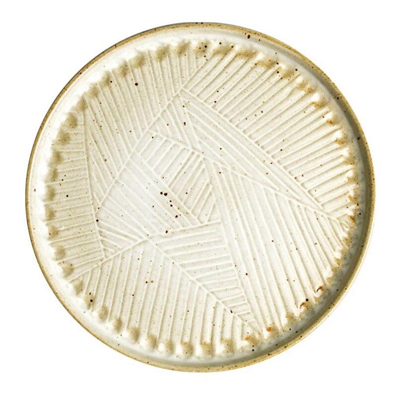 Porcelain Dinner Plate Round Ceramic Vintage Retro Nostalgic Creative Serving Plate for Steak Salad Pasta Pizza 9 Inch