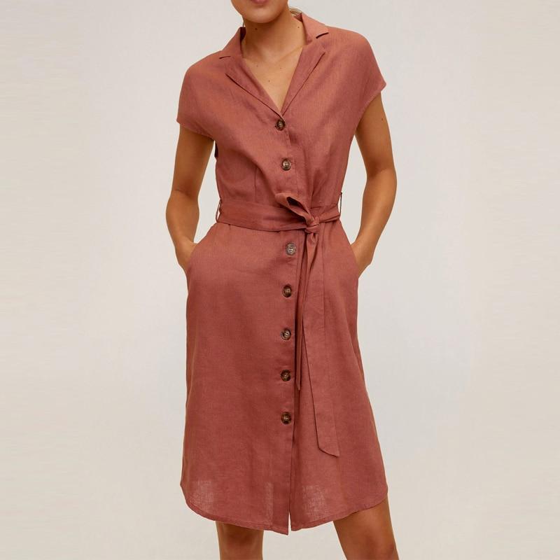Linen Mini Dress Women Za 2020 Batwing Sleeve Fitted Waist Adjustable Belt Front Button Dress Side Pocket Summer Dresses